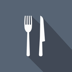 fork & knife icon with long shadow