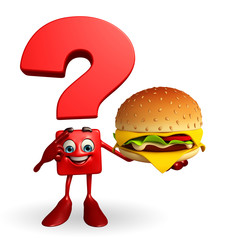 Question Mark character with burger