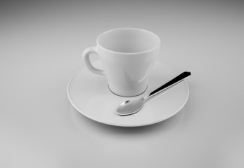 white cup with spoon