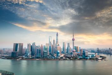 shanghai financial district skyline at dusk
