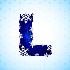 Winter decorations. Snow alphabet. Letters made of snowflakes.