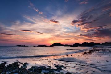 Dramatic sky at sunset on the Isle of Iona, Scotland