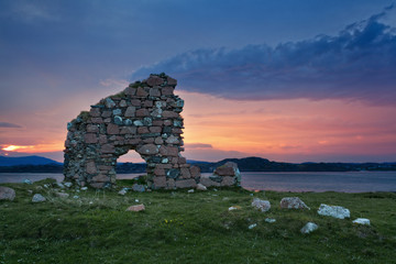 In de dag Rudnes Ruins of Bishop house at Iona Abbey