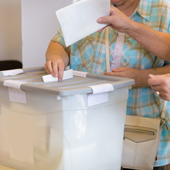 Citizens voting on democratic election.