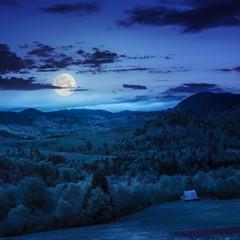 meadow on  hillside meadow in mountain at night