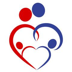 Famili heart, symbol - vector