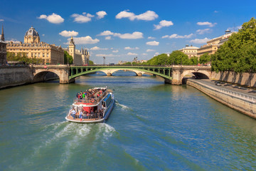 River Seine and the Conciergerie in Paris, France Wall mural