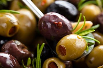Marinated olives background.
