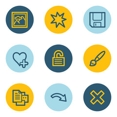 Image viewer web icon set 2, blue and yellow circle buttons