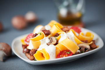 Traditional Italian pappardelle pasta