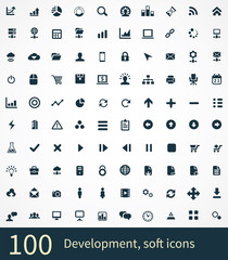 100 development, soft icons set.