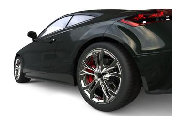 Black car wheel extreme close up