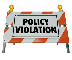 Wall Mural - Policy Violation Warning Danger Sign Non Compliance Rules Regula