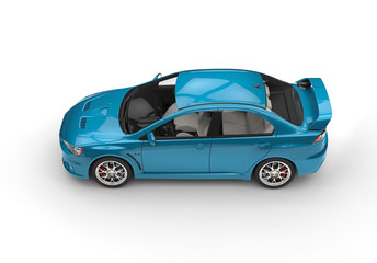 Metallic blue race car
