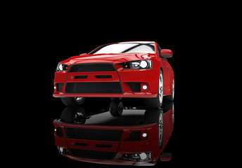 Red race car front view on reflective surface