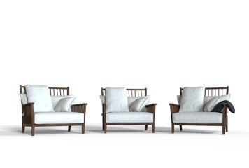 Three white cozy armchairs