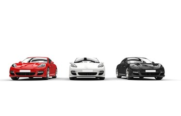 Three modern fast cars in a row