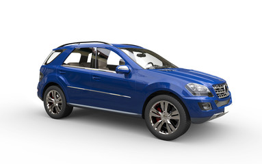 Blue modern suv side viev