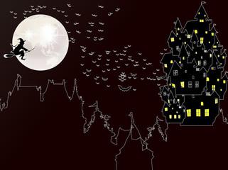 ハロウィン 夜空 背景