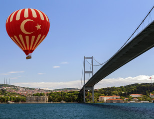 Hot air balloon flying Bosphorus bridge