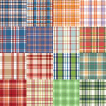 Big vector tartan textile texture set.