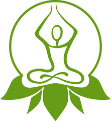 Green yoga symbol
