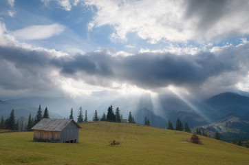 Rays of the sun through the clouds