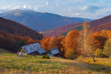 Hut in a mountain forest. Autumn Landscape