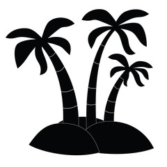 Black Icon three palm trees on the island. Raster