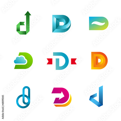 Set Of Letter D Logo Design Template Icons And Elements