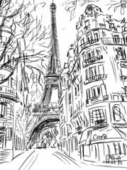 Wall Mural - Street in paris -sketch  illustration