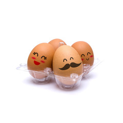 Happy pack of four brown eggs