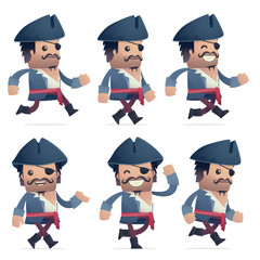 set of pirate character in different poses