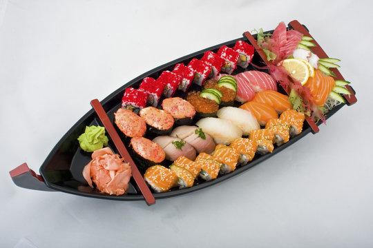 japanese sushi sashimi  boat set mix photo  seafood ship