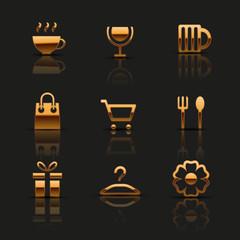 Golden web icons set