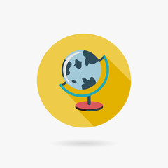 Earth Globe Flat style Icon with long shadows