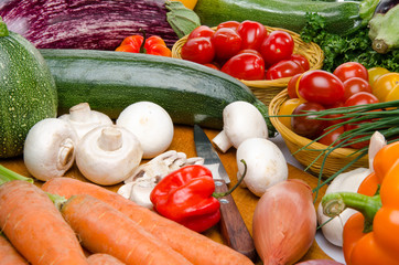 Composition with different fresh vegetables