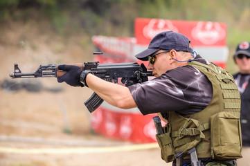 Submachine Gun Shooting Training. Outdoor Shooting Range