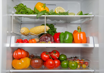 Different food products inside a refrigerator