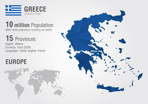 Greece world map with a pixel diamond texture.