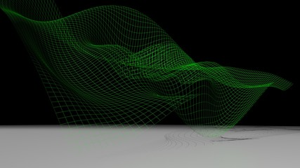 Green waved surface