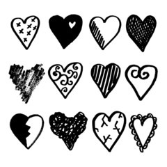 Set of doodle hearts, black isolated sketches, vector