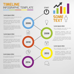 Light infographic timeline template with circles