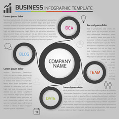 Business dark infographic with circles in light background