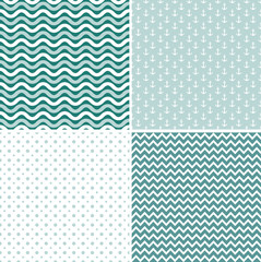 Seamless sea pattern, vector
