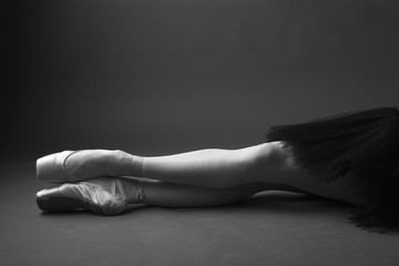 Gorgeous ballerina's legs in pointes, monochrome