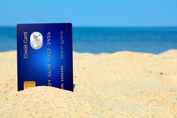 credit card on the beach