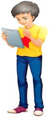 A boy using a touch screen gadget