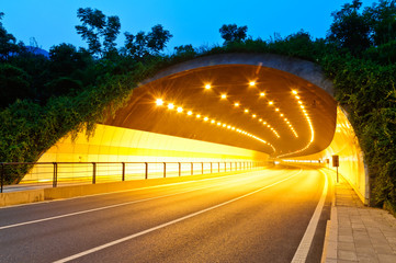 Acrylic Prints Tunnel urban highway road tunnel in hangzhou