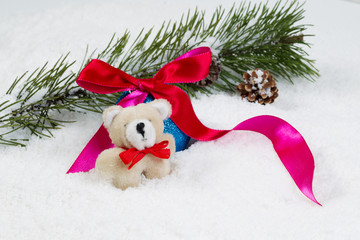 Stuffed Bear with Christmas objects